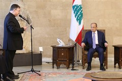President Michel Aoun meets Father Khalil Chalfoun with a delegation
